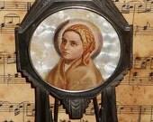 Antique French Icon ~ St Bernadette Plaque ~ Art Deco ~Hand Painted~Early 1900s France~Numbered ~ Beatification Lourdes Massabielle Souvenir