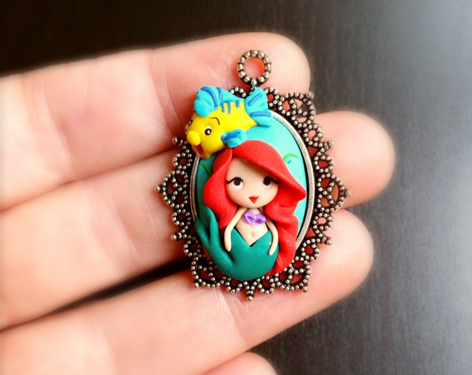 Ariel little mermaid and Flounder  cameo necklace .  Ariel jewelry. Disney jewelry. Clay charm.
