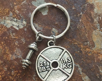 Keychain: Motivational Bodybuilding, Fitness, and Strength Dumbbell Weight Plate Charm Keychain