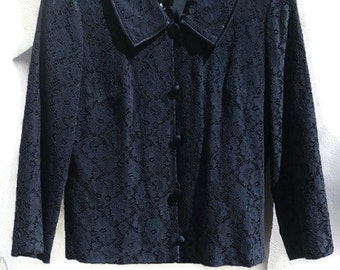 60sTwo-Piece Women's Suit MODBEATNIK blackLack suit Kennedy highwaist skirt  blazer lace skirt 1960s vintage dress Small /xs  s women's