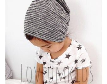 Grey/Black/White Haze Stripe Sweater-Knit REVERSIBLE Slouchy Beanie Hat