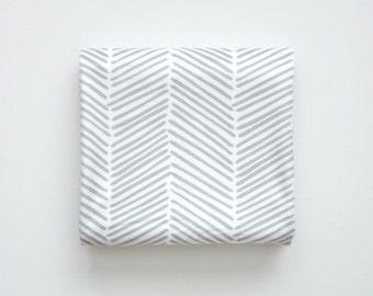 Baby Toddler Modern Fitted Minky Crib Sheet - Gray Freeform Arrows, Herringbone, Chevron