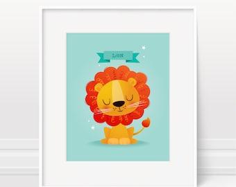 Nursery art, lion nursery art, boys nursery art, baby print, nursery print, kids illustration, kids room, baby gift, kids wall art, modern