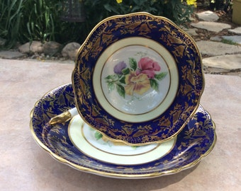 Paragon A2893 Sweet Pea flowers Cobalt Blue Tea Cup and Saucer