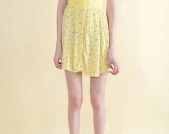 Floral Yellow Vintage Summer Dress . Small . 1990s