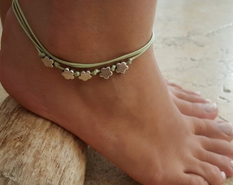 Green Anklet - Ankle Bracelet - Silver Anklet - Foot Jewelry - Foot Bracelet - Chain Anklet - Summer Jewelry - Beach Jewelry - Gift For Her