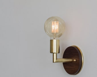 AP Wall Sconce - Brushed Brass & Oregon Walnut