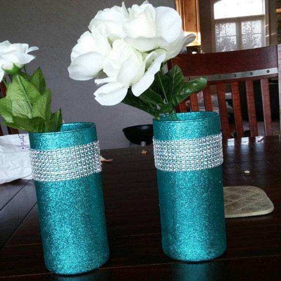 Wedding Vases For Sale: SALE 10 Glass Vases Teal Decor Wedding By EverydayDesignEvents