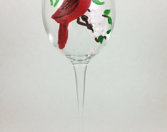 White wine glasses, Painted glassware, Red Cardinal, Cardinal Bird, Wine Gift, personalized glasses, wine lover gift, Crystal wine glasses