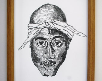 2Pac hip hop Illustration Print *free uk postage*