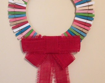 Clothespin Wreath- Mulitcolor