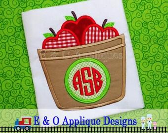 Fall Apple Basket Monogram Applique Design - Apple Barrel Monogram Digital Design - 5 Sizes