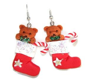 Christmas stocking earrings, Christmas Earrings, Stocking Earrings, Polymer clay earrings