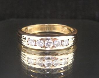 Vintage Designer 14k Yellow Gold Diamonds Estate Wedding Band