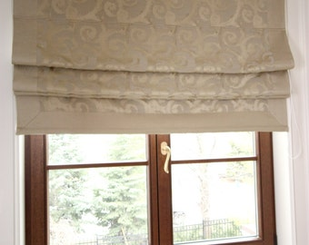 "Flat Roman Shade ""Pinnacle"" with border and chain mechanism, custom shade"