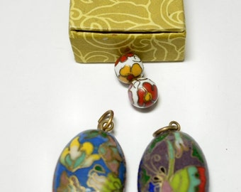 4 pc Lot Vintage Cloisonne Beads 27 x 18 mm & 8 mm