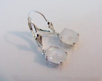 Moonstone Leverback Earrings in Sterling Silver, 9x7mm Rose Cut Moonstone Gemstones, June Birthstone, Moonstone Earrings, Natural Moonstone