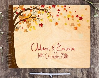 Wedding Guest Book Tree, Wedding Guest Book Wood, Rustic Wedding Guest Book, Maple Tree Wedding Guest Book, Autumn Wedding, Maple Leaves