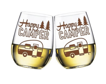 Happy Camper stemless wine glass - made to order