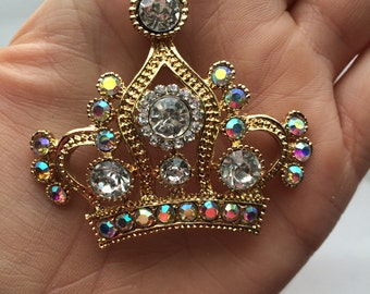 P53  Rhinestone Gold Royal Queen Crown Pendant for Chunky Necklaces