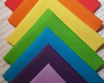 RainBow fabric/ 7 Fat Quarter Bundle that covers all 7 colors in the rainbow! 100 % quilting cotton fabric