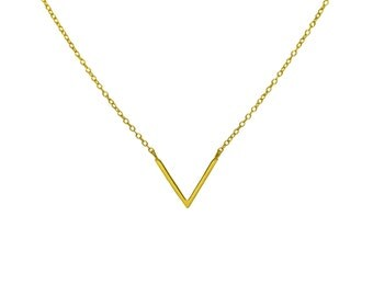 Gold V Necklace, Vermeil Gold V-Shaped Necklace, Solid 925 Sterling Silver, Gift for Her, Everyday Pendant Necklace