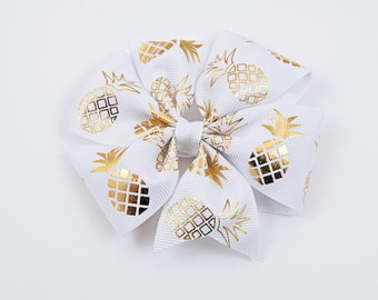 Pineapple Hair Bow, Pineapple Twisted Boutique Bow, White and Gold Hair Bow, Summer Hair Bow, Pineapple Bow (Item #10222)