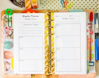 Filofax Personal WEEKLY Planner Pages Personal Size Inserts At A Glance WO2P 3.7 x 6.7 Printable Weekly Agenda Refills Weekly Calendar