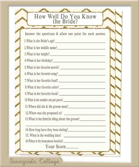 How Well Do You Know The Bride Game With By
