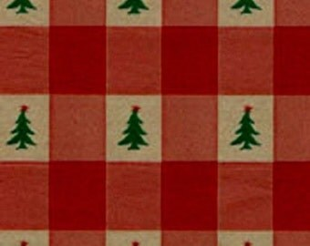 "Red Check w/ trees Christmas Tissue Paper # 883 - 10 large sheets 20"" x 30"""