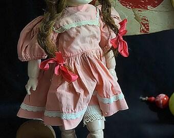 Rare Antique french antique doll, ROSETTE , Bleuette sister's, 1955