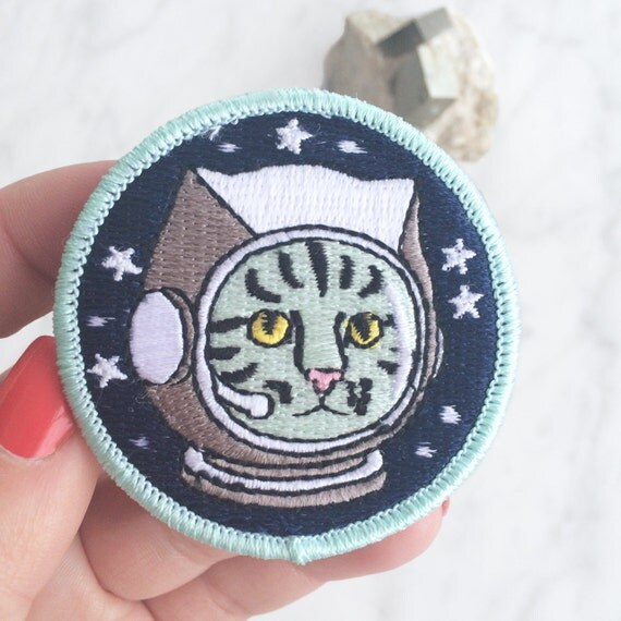 Space Cat Patch / Iron On Patch Embroidered Applique