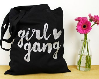 Girl Gang Cotton Tote Bag - -Typographic - Feminist -Black and Silver Glitter