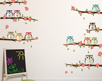 Wall sticker owls on branches with flowers