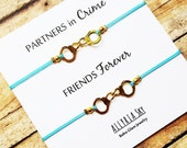 Set of Two Partners in Crime Gold Handcuff Friendship Bracelets | BFF, Best Friend Gift Jewelry | Matching Friend Bracelets