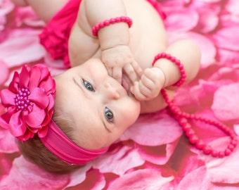 Hot Pink Flower Headband, Baby Flower Headband, Baby Girl Headband, Big Flower Headband, Flower Girl Headband, Hot Pink Headband, 985