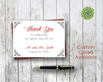 Printable Wedding Thank You Card PDF - Elegant Black Floral Damask Wedding Thank You (Your Choice in Colors!) (5 X 3.5 Folded)