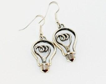Light Bulb Earrings: Silver/Bronze