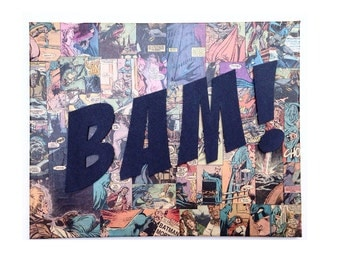 Comic Collage Canvas- Wall Art With Custom Lettering- Customized Comic Book Art- Kids Room - Man Cave - Comic Book Art