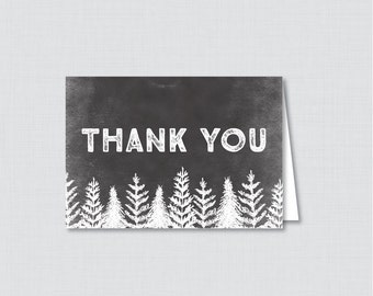 Printable Rustic Winter Baby Shower Thank You Card - Instant Download - Black Snow Covered Trees Winter Wonderland Thank You - 0039-K