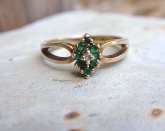 Emerald Cluster and Diamond Ring 10k yellow gold ladies marquis May Birthstone April green