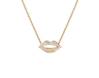 14k gold diamond lips necklace, pave diamond lips