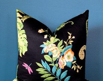 Black Floral Pillow Cover - Botanical Pillow Cover - Designer Pillow Cover - Black Pillow Cover - Fern Pillow - Botanical Decor - Hellebore