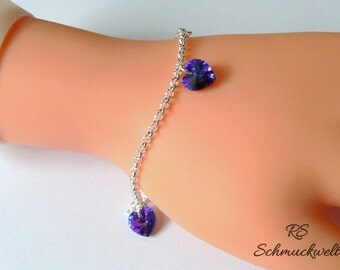 Crystal Heliotrope bracelet elegant bracelet heart jewelry bracelet purple Crystal bridal bracelet purple bridesmaid wedding romantic bracelet