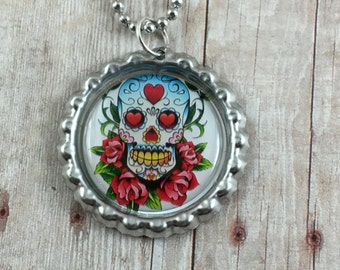 Sugar Skull Necklace - Day of the Dead Necklace - Sugar Skull Bottlecap Necklace - Bottlecap Pendant - Ball Chain Necklace - Sugar Skulls