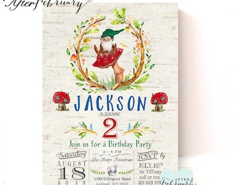 Gnome Birthday Invitation // Boy Birthday Gnome Invitation // Watercolor Gnome // Typography Vintage Birch Background Printable No.177KIDS