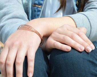 Thin Copper Bangle, Raw Silk Bangle, Thin Bangle, Stacking Bangles, Pure Copper Bangle, Copper bracelet, stacking bangle, Copper bangle