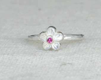 Small Flower Ruby Ring, Silver Ruby Ring, Flower Ring, Forget Me Not, Flower Jewelry, Sterling Flower Ring, Ruby floral ring