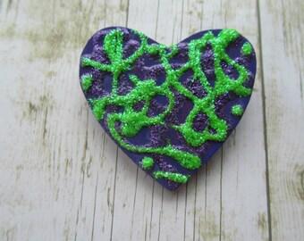 Purple Heart Pin, Valentine Pins, Valentine Jewelry, Heart Brooch, Valentine Brooch, Wood Heart Pin, Painted Heart Pin, Scarf Pin, Kilt Pin