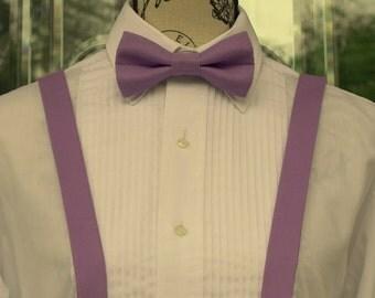 Hyacinth Purple Bow Tie/Suspender - 93B (Infant - Adult) - Wedding - Grooms - Groomsmen - Ringbearer - Mens Suspenders - Pre-tied Bowties